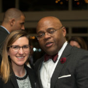 "Katie Joyce (Massachusetts Life Sciences Center) and Senator William ""Mo"" Cowan (GE)"